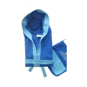 Accappatoio Microfibra Blu Royal con bordo Azzurro Unisex