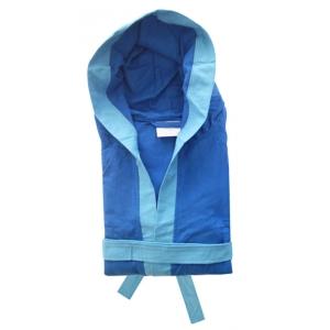 Accappatoio Microfibra Blu Royal con bordo Azzurro Unisex Uomo Donna