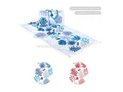 Borsa Mare Hurghada Coralli Blu 100% Cotone Con Zip 50x40x15cm