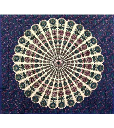 Copritutto Batik Coda di Pavone Blu 100% Cotone Stampato Copri Divano 210x240cm