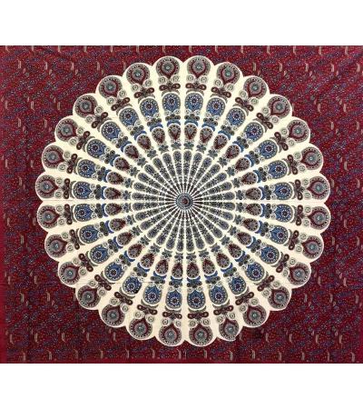 Copritutto Batik Coda di Pavone Bordeaux 100% Cotone Stampato Copri Divano 210x240cm