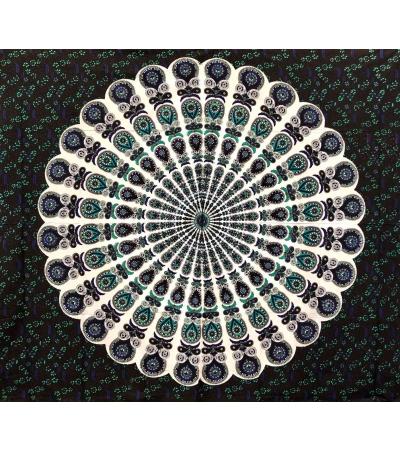 Copritutto Batik Coda di Pavone Nero 100% Cotone Stampato Copri Divano 210x240cm