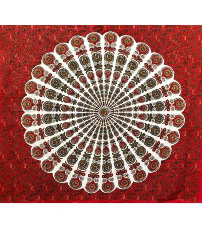 Copritutto Batik Coda di Pavone Rosso 100% Cotone Stampato Copri Divano 210x240cm