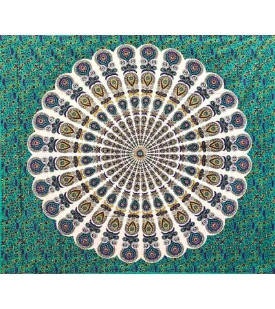 Copritutto Batik Coda di Pavone Verde 100% Cotone Stampato Copri Divano 210x240cm