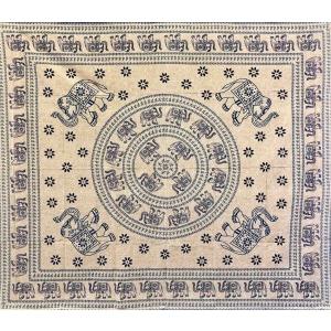 Copritutto Copridivano Etnico Elefanti e Margherite Blu Sabbiato 100% Cotone 210x230cm Senza Frange