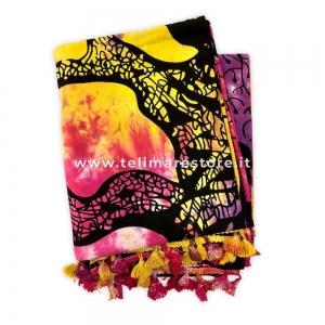 Copritutto Grande Albero Multy Color Viola 100% Cotone 210x240cm Con Nappe