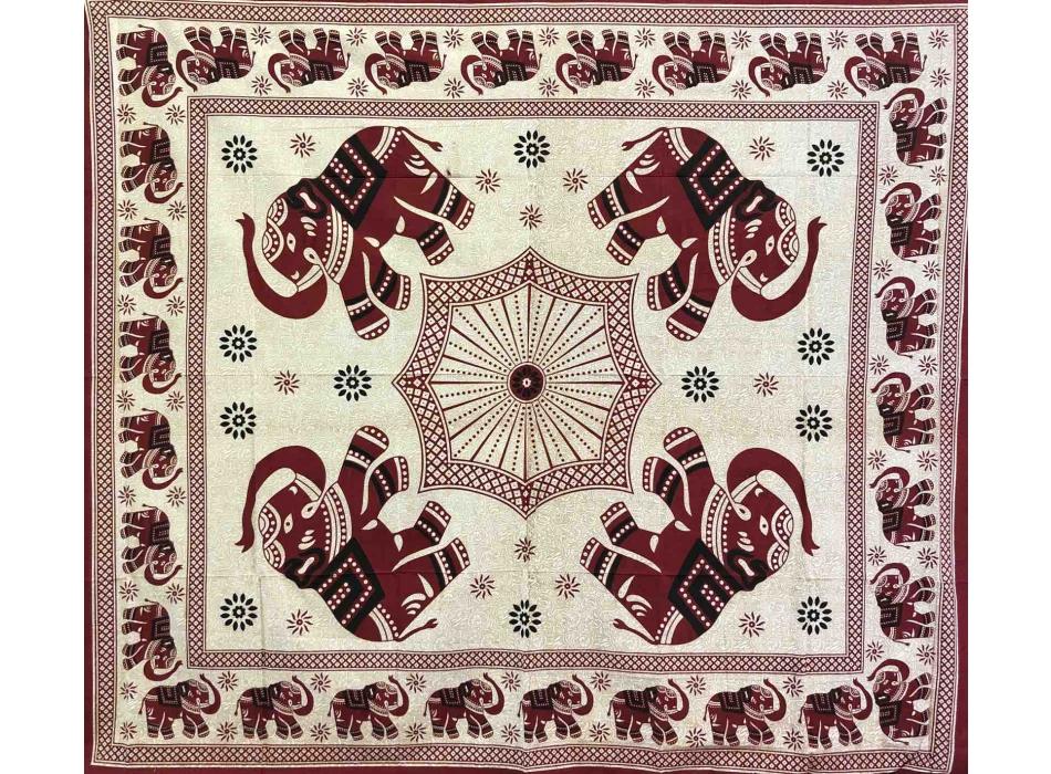 Copritutto Grande Elefante Decorato Bordeaux Sabbiato