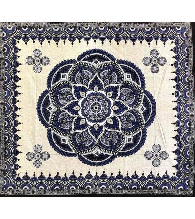 Copritutto Grande Fiore Blu Sabbiato Copriletto Etnico 100% Cotone Telo Mare Matrimoniale