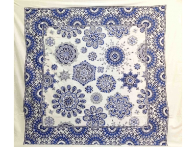 Copritutto Grande Fiori Bianco Blu