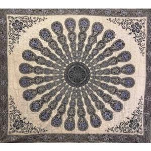 Copritutto Grande Mandala Nero Blu Sabbiato
