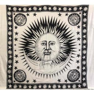 Copritutto Grande Sole Luna Bianco Copridivano, Copriletto Etnico 210x240cm 100% Cotone Stampato