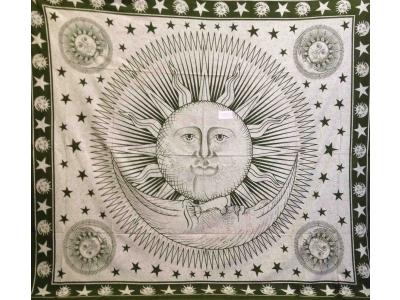 Copritutto Grande Sole Luna Verde Sabbiato