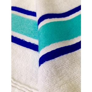 Fouta Cotone Spugna Bianco Azzurro Blu
