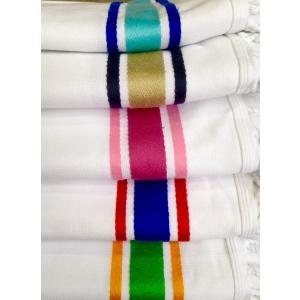Fouta Cotone Spugna Bianco Blu Giallo