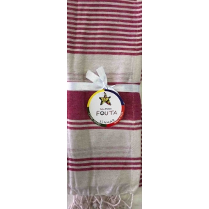 Fouta Pareo Singolo Multy Righe Fucsia
