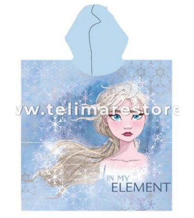 Poncho Stampato Frozen Azzurro