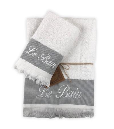 Set 2 Asciugamani Bagno Le Bains Bianco con Frange 100% Cotone Coppia in Spugna 1+1