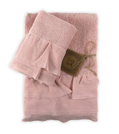 Set 2 Asciugamani Bagno Mia Rosa con Balza 100% Cotone Coppia in Spugna 1+1