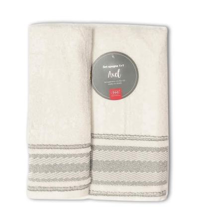 Set Asciugamani Bagno 100% Cotone Modello Axel Avorio 1+1