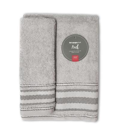 Set Asciugamani Bagno 100% Cotone Modello Axel Grigio Perla 1+1