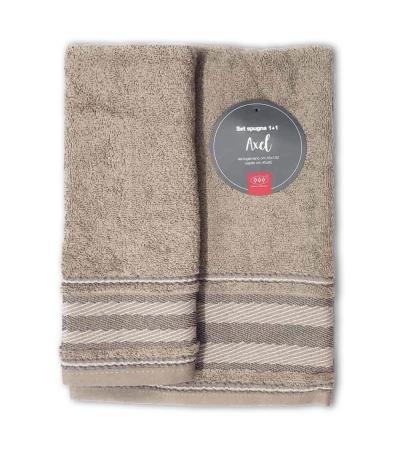Set Asciugamani Bagno 100% Cotone Modello Axel Tortora 1+1