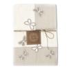 Set Asciugamani Bagno 100% Cotone Modello Butterfly Avorio 1+1