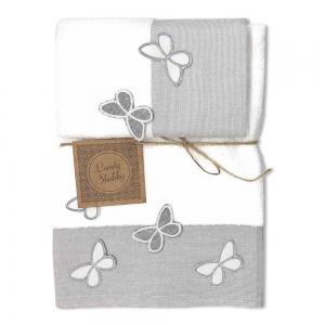 Set Asciugamani Bagno 100% Cotone Modello Butterfly Bianco 1+1