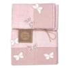Set Asciugamani Bagno 100% Cotone Modello Butterfly Cipria 1+1