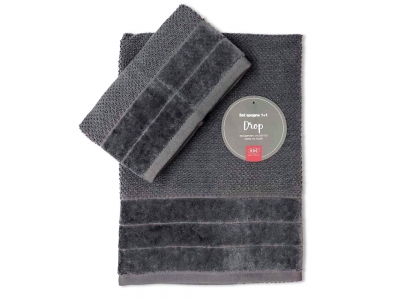 Set Asciugamani Bagno 100% Cotone Modello Drop Grigio 1+1