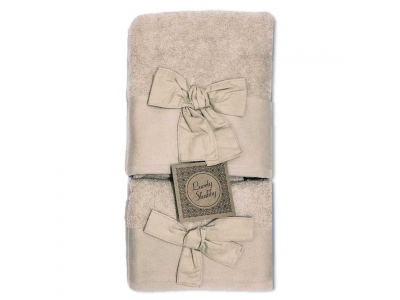 Set Asciugamani Bagno 100% Cotone Modello Fiocco Beige 1+1