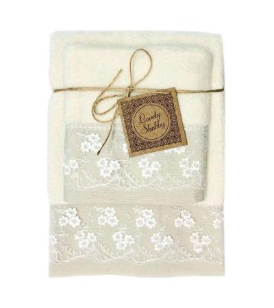 Set Asciugamani Bagno 100% Cotone Modello Heaven Avorio 1+1