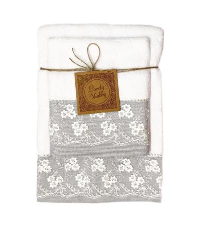 Set Asciugamani Bagno 100% Cotone Modello Heaven Bianco 1+1