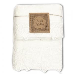 Set Asciugamani Bagno 100% Cotone Modello Kira Avorio 1+1