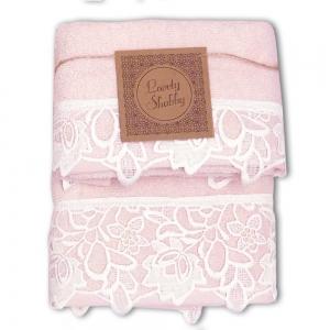 Set Asciugamani Bagno 100% Cotone Modello Kira Cipria-Bianco 1+1