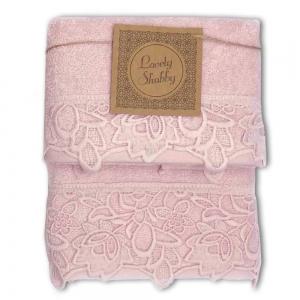 Set Asciugamani Bagno 100% Cotone Modello Kira Cipria 1+1