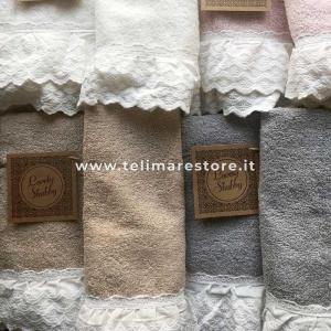 Set Asciugamani Bagno 100% Cotone Modello Milady Beige 1+1