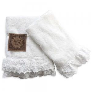Set Asciugamani Bagno 100% Cotone Modello Milady Bianco 1+1