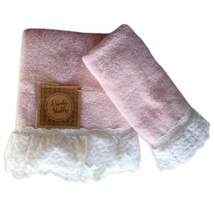 Set Asciugamani Bagno 100% Cotone Modello Milady Cipria 1+1