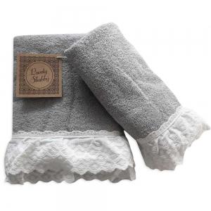 Set Asciugamani Bagno 100% Cotone Modello Milady Grigio 1+1
