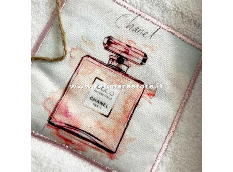 Set Asciugamani Bagno 100% Cotone Modello Parfum Bianco 1+1