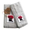Set Asciugamani Bagno 100% Cotone Modello Parfum Grigio 1+1