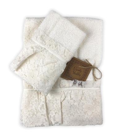 Set Asciugamani Bagno 100% Spugna di Cotone Modello Valencia Avorio Coppia 1+1