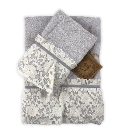 Set Asciugamani Bagno 100% Spugna di Cotone Modello Valencia Grigio Coppia 1+1