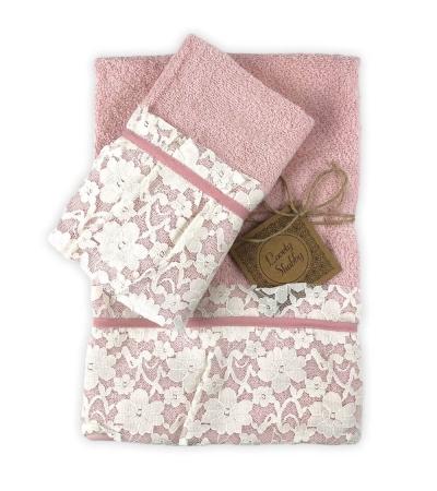 Set Asciugamani Bagno 100% Spugna di Cotone Modello Valencia Rosa Coppia 1+1