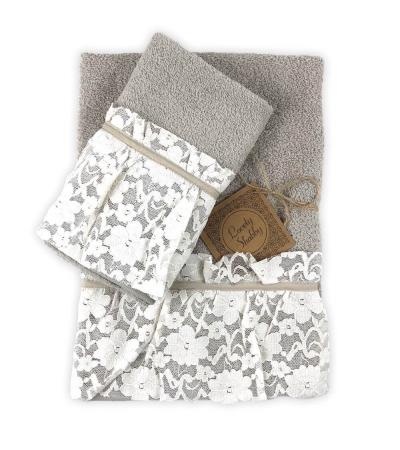 Set Asciugamani Bagno 100% Spugna di Cotone Modello Valencia Tortora Coppia 1+1