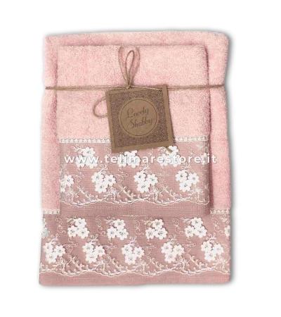 Set Asciugamani Bagno 100% Cotone Modello Heaven Rosa 1+1
