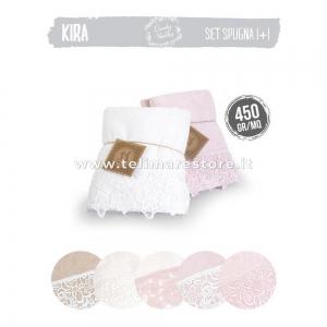 Set Asciugamani Bagno 1+1 in 100% spugna - Modello Kira - disponibilità colori