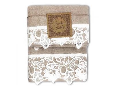 Set Asciugamani Bagno 100% Cotone Modello Kira Beige 1+1