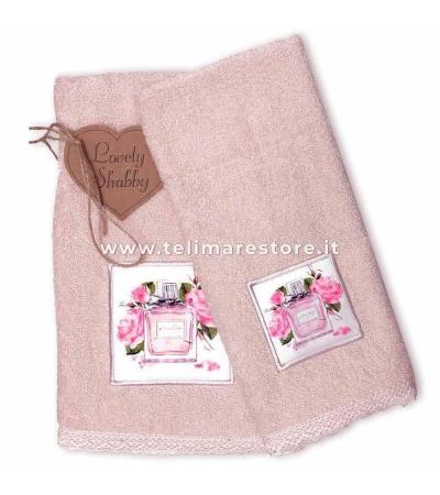 Set Asciugamani Bagno 100% Cotone Modello Parfum Cipria 1+1