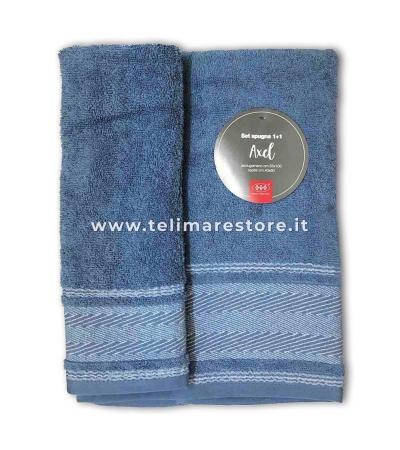 Set Asciugamani Bagno 100% Cotone Modello Axel Blu Avio 1+1